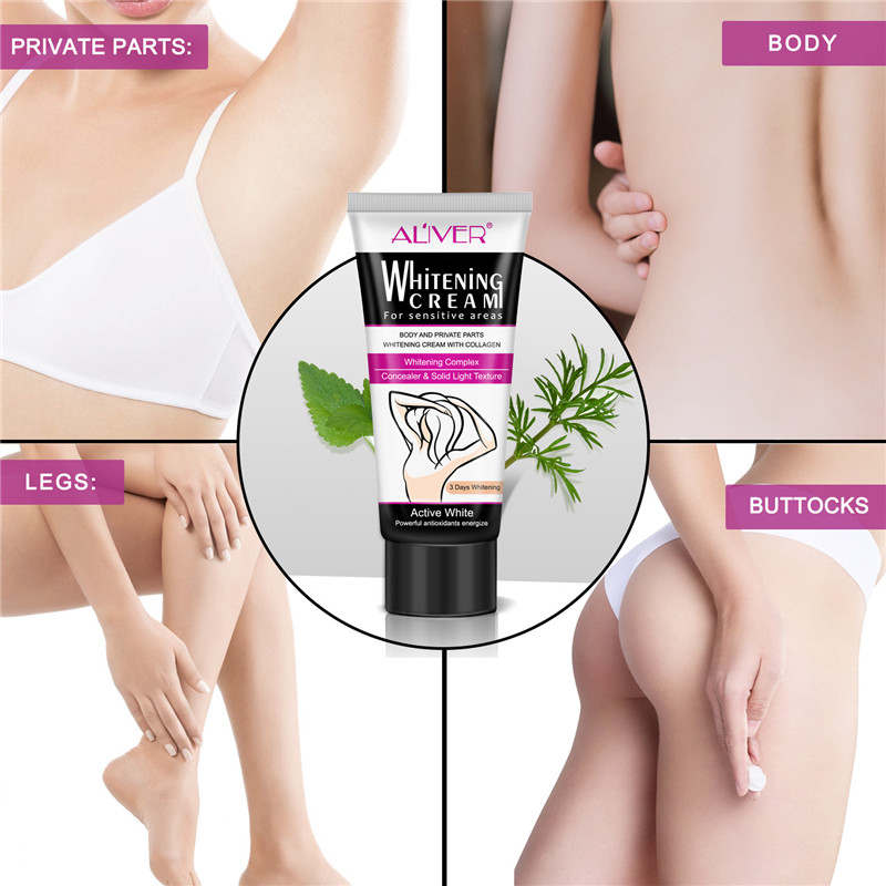Underarm Whitening Cream Armpit Whitening Cream Legs Knees Private Parts Body Whitening Cream Korean Cosmetics Skin Care 60ML 3