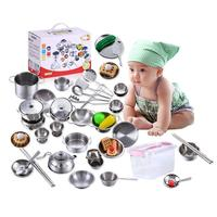 25 Pieces Children's Play House Toys Boys And Girls Cooking Tool Stainless Steel Kitchen Toys Set With Storage Box