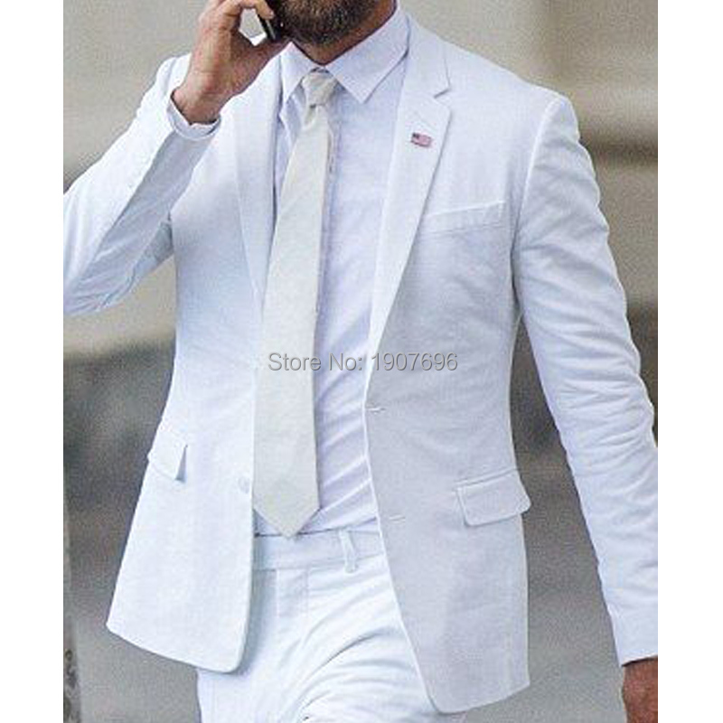 White Wedding Groom Tuxedos For Slim Fit Prom Man Suits Notched Lapel Two Piece Man Suit Jacket Pants Stage Male Clothes