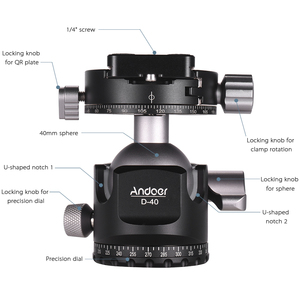 Image 4 - Andoer D 40 Professional CNC Double Panoramic Tripod Monopod Ball Head for Canon Nikon DSLR ILDC Cameras Max Load Capacity 25kg