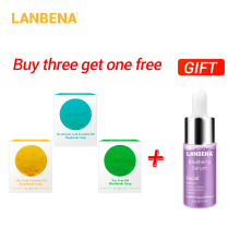 Buy 3 Get 1 Gift Lanbena 24k Gold Handmade Soap Hyaluronic Acid+seaweed+tea Tree Facial Cleansing 3pcs+blueberry Whitening Serum