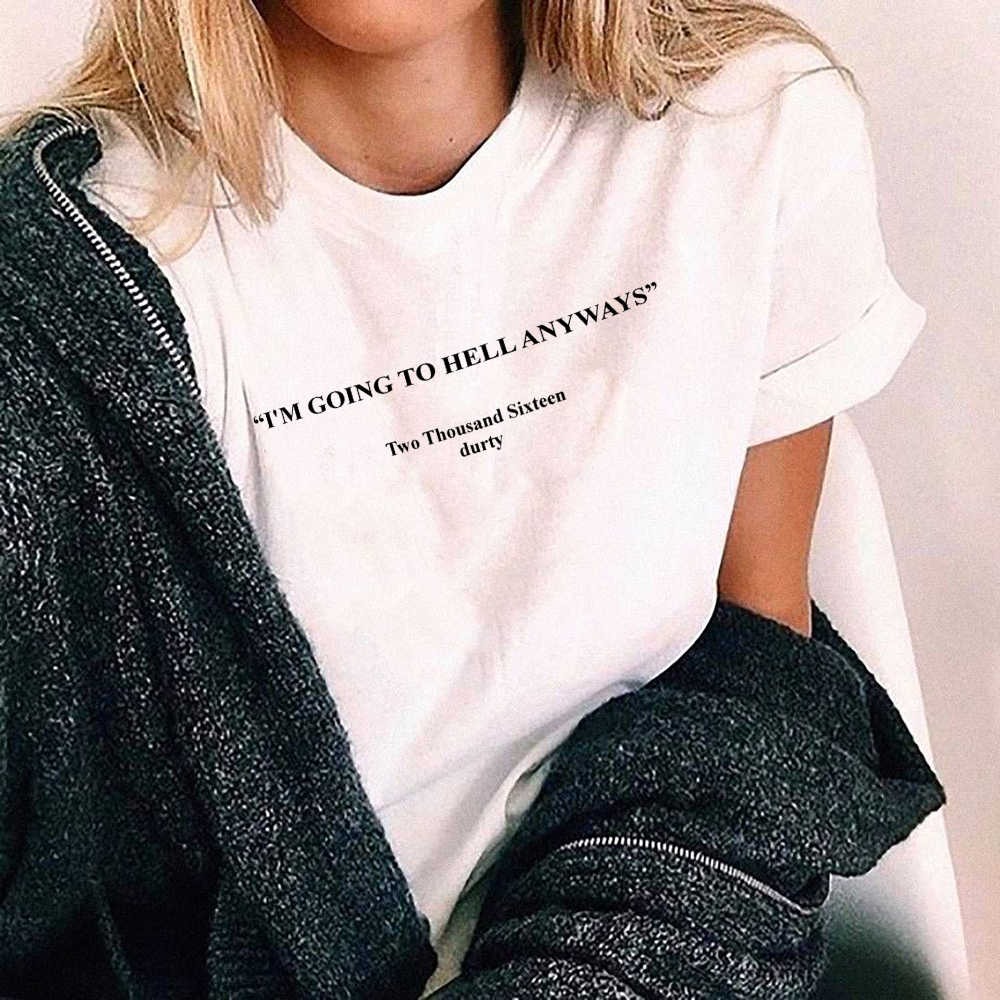 ee9e71abb I Am Going To Hell Anyways T Shirt Fashion White Casual Shirt 90s Women  Goth Grunge