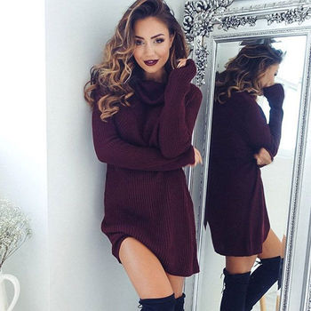 Ladies Winter Clothing Dresses Warm Long Sleeve Knitted Sweater Mini Dress vestivo robe Autumn Clothes Women