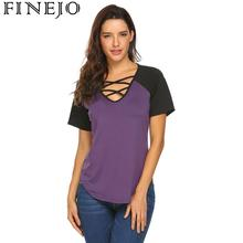 Women Criss Cross V-Neck Short Sleeve Patchwork Casual Casual, Beach Contrast Color Loose Fit T-Shirt Top недорого