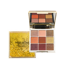 Miss Rose Cosmetic Eyeshadow Palette Shimmer Matte Waterproof Eye Makeup Earth Color Glitter 9 Colors