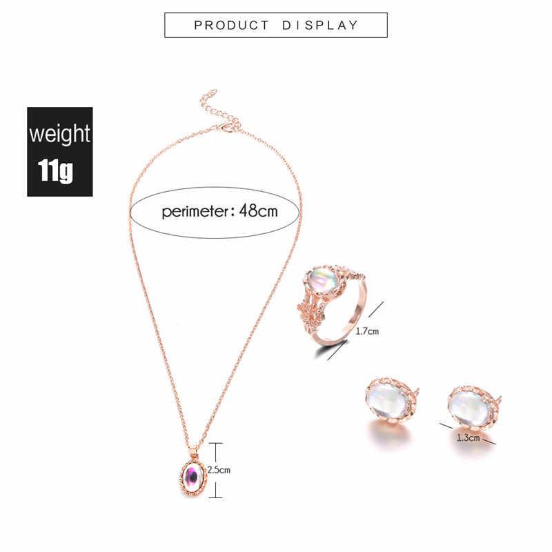 אופל טבעת שרשרת אוזן הרבעה סט שרשרת קולר שרשראות טבעות חליפת נשים עגילי תכשיטי סט חתונת הבטחת טבעת סטי נשים