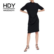 HDY Haoduoyi Simple Straight-necked Short-sleeved Pocket Dress Black Solid Summer Dresses New Arrival Women