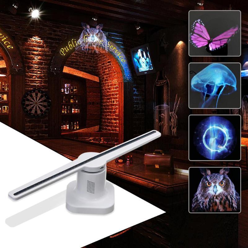 42 cm 3D hologramme projecteur lampe LED holographique publicité affichage ventilateur lumière avec 8 GB carte mémoire publicité lampe