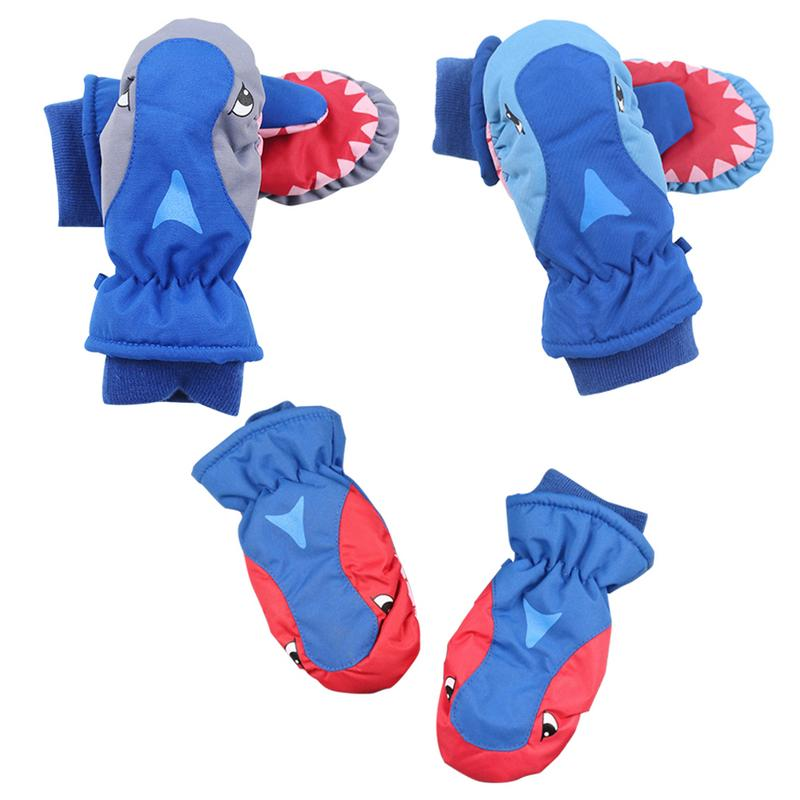 Hard-Working Children Cartoon Sharks Play Snow Skiing Waterproof Cute Gloves Winter Warmest Breathable For Kids Skiing Snowboarding To Prevent And Cure Diseases