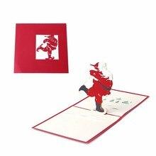JIELISI 3D Pop Up Merry Christmas Santa's Handmade Custom Greeting Cards Gifts