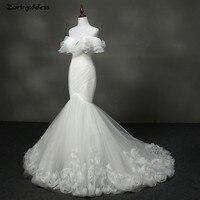 Роскошное Русалка свадебное платье без бретелек с 3D цветы и длина до пола, с оборками Длинные платья невесты 2019 арабские свадебные платья