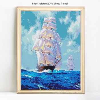 HUACAN 5D Diamond Painting Full Square Sea And Sailboat Embroidery Sale Picture Rhinestone Diamond Mosaic