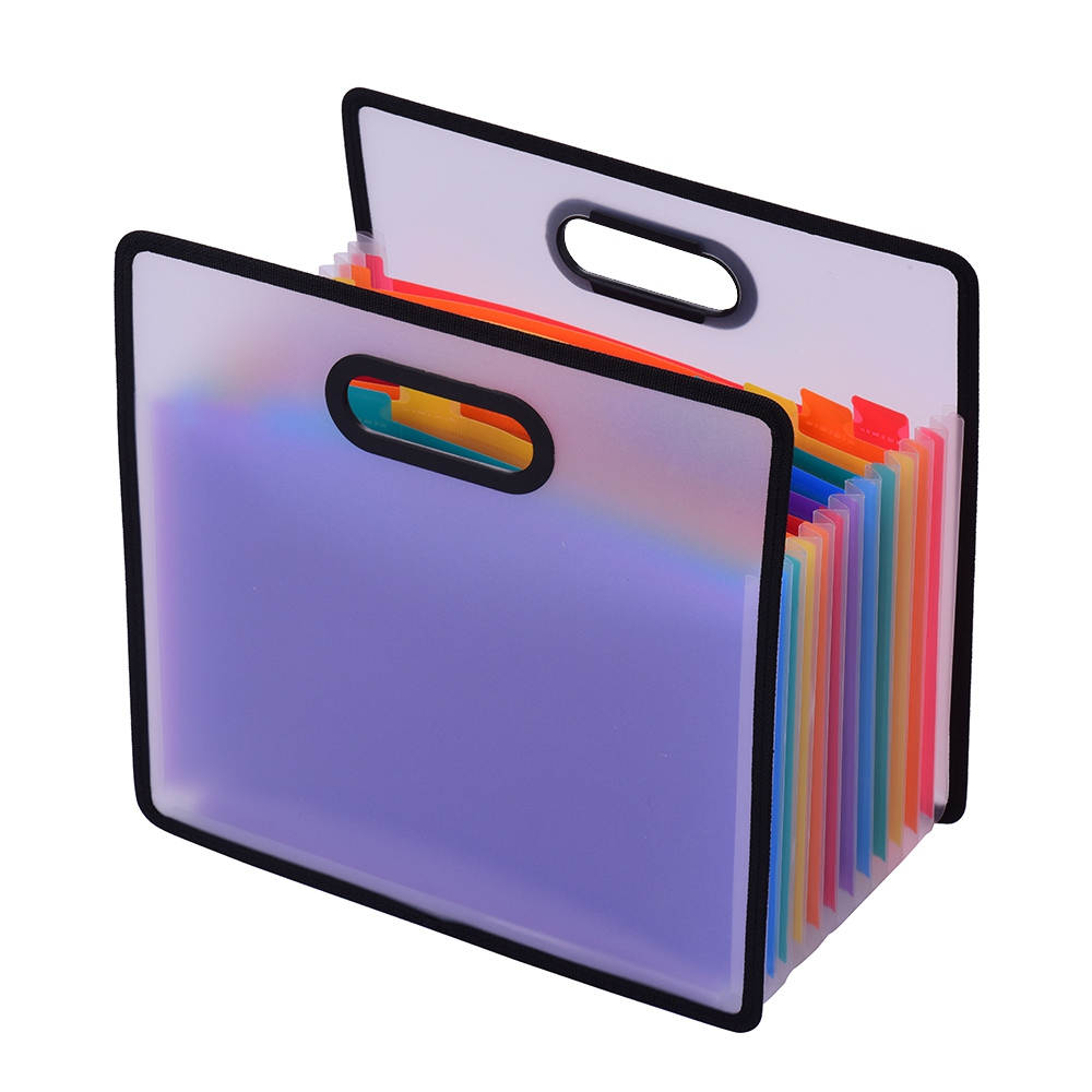 12 Pockets Waterproof File Manager with Portable Handle for Business Office Student A4 Deli Expanding File Folder