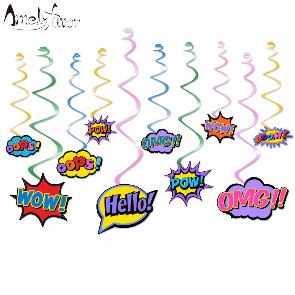 Superhero Ceiling Hanging Swirl Decorations Cutout Festive Boy Party Supplies Party DIY Decorations Event Party Baby Shower