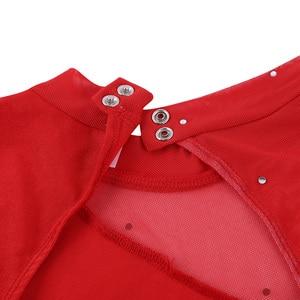 Image 3 - נשים מבוגרים דמות החלקה שמלת נשים בלט שמלת התעמלות בגד גוף החלקה על שמלה ארוך שרוול צוואר הלטר ללא משענת שמלה