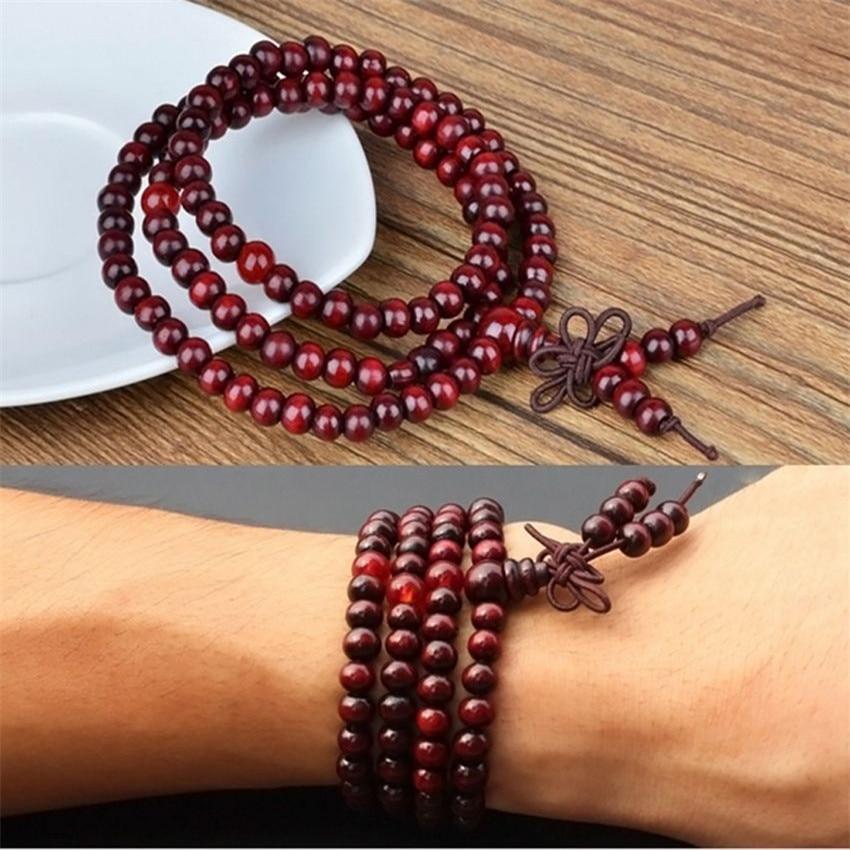 100% Wahr 6mm Rot Sandelholz Armband Unisex Unisex Glück Quaste Natürliche Heilung Chakas Meditation Beten Energie Handgelenk Segnen Mala Moderater Preis