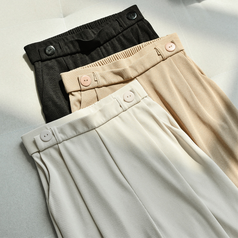 Formal Suit   Pants   Office Lady Straight High Waist White Khaki   Wide     Leg     Pant   Trouser Women Long Fashion Wear   Pants   Bottoms