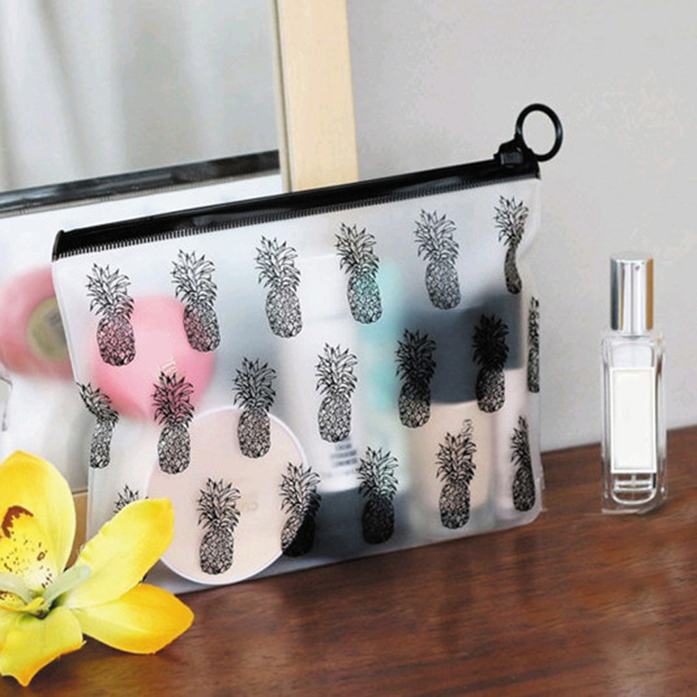 Portable PVC Makeup Zipper Pouch Pencil Pen Case Cosmetic Bag Clear Toiletry Holder Makeup Organizer Bathroom Storage