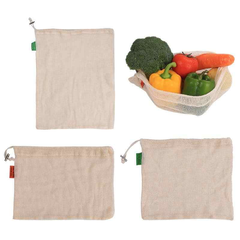 Reusable Cotton Vegetable Mesh Bags  for Grocery Shopping Storage Fruit Vegetable Toys  Storage Bags With Drawstring Machine Was