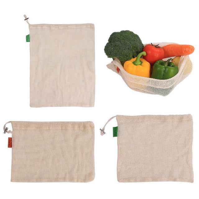 Reusable ผ้าฝ้ายผักถุงตาข่ายสำหรับร้านขายของชำช้อปปิ้งเก็บผักผลไม้ของเล่นที่มีสายรัดเครื่องเป็น