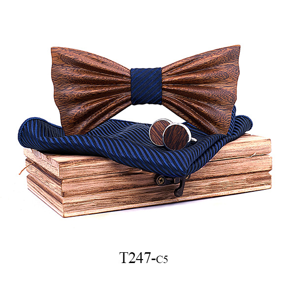 Classic Wooden Bow Tie Suit Square Cufflinks Brooch Set Clothing Accessories to Marry Stripe Wooden Bow Tie