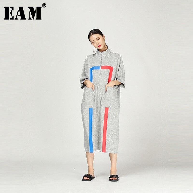 [EAM] 2019 nouveau printemps été col montant trois-quarts manches motif imprimé lâche longue robe femmes mode marée JS313