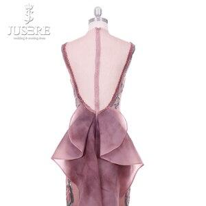 Image 5 - 2018 Jusere מזרח התיכון קמיע חום למעלה לראות דרך רקום Appliqued ערב שמלות פיצול צד באורך רצפת שמלת הנשף