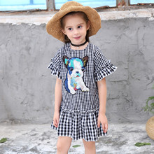 Kid girl dress summer 2019 black and white plaid sequins cotton cartoon childrens clothing