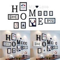 9 pcs/set Europe Style Black White Vintage Photo Frame Family Picture Frames Wooden Picture Frame Sets Home Decor Wall Paintings