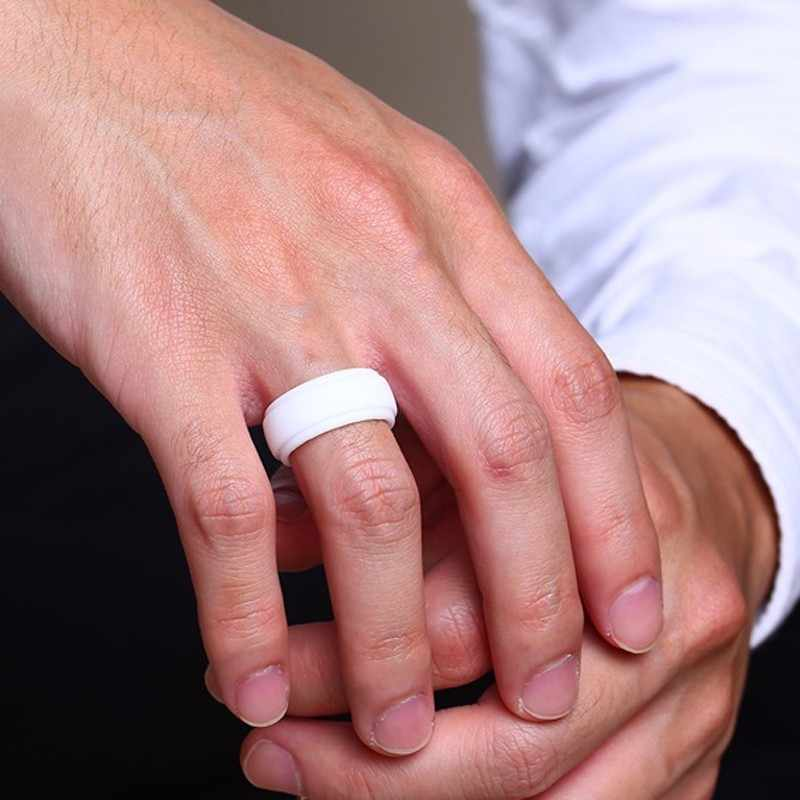 9MM Men Domed Silicone Climb Ring in White Rubber Wedding Band