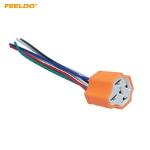 FEELDO 1Pair Car 5Pin Headlight Ceramic Socket Extension Plug LED HID Light Adapter With Wiring Harness Connector #MX5943
