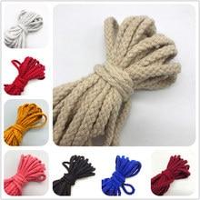 Corde en coton torsadée décorative artisanale, 5yards 6mm, cordon de fil pour décoration faite à la main, lanière de Ficelles de Couleurs
