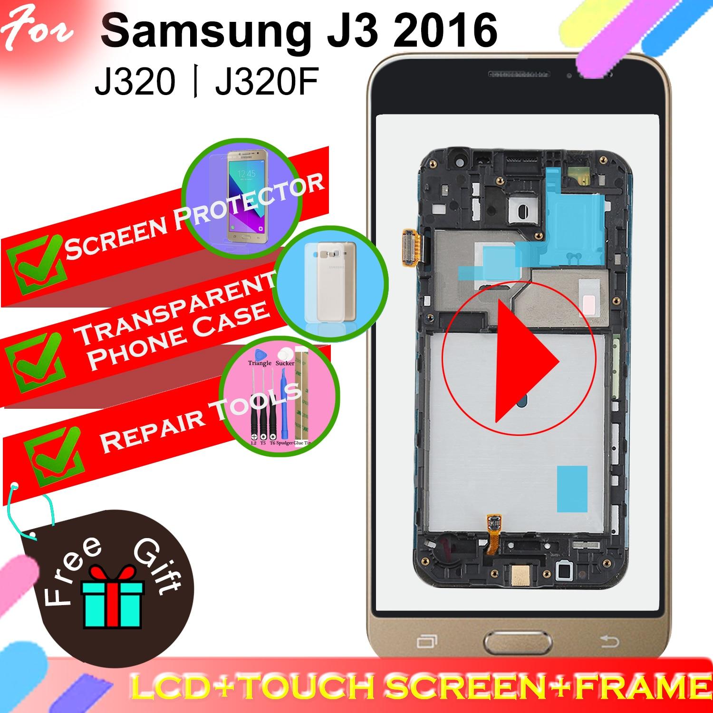 Adjust Backlight LCD Display for Samsung Galaxy J3 2016 J320 J320F J320FN Touch Screen Digitizer Assembly Frame with Home ButtonAdjust Backlight LCD Display for Samsung Galaxy J3 2016 J320 J320F J320FN Touch Screen Digitizer Assembly Frame with Home Button