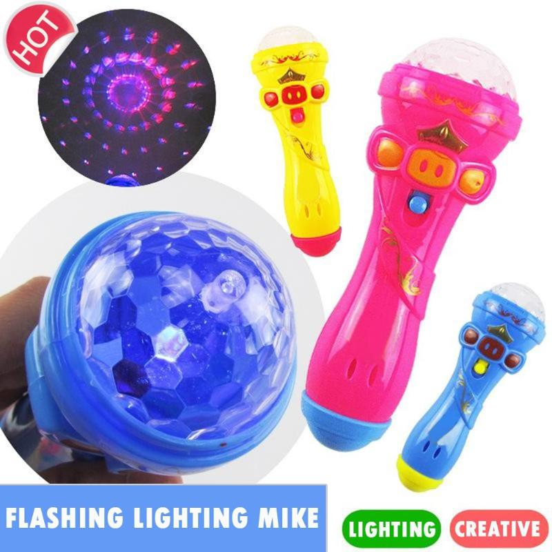 Creative Microphone Model Lighting Toys Wireless Music Karaoke Flashing Projector Mike Kids Toy Valentine's Day Gift