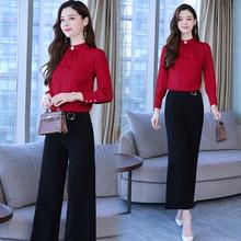 цена на 2019 Autumn new shirt wide-legged pants two-piece leisure Korean fashion suit women clothing set vestido chiffon suit spring