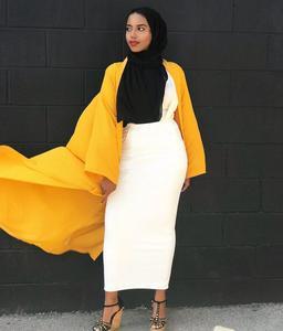 Image 4 - 5 couleurs Abaya jupe musulmane femmes jarretelle jupe Maxi crayon moyen orient moulante Abaya taille haute gaine longue jupe islamique nouveau