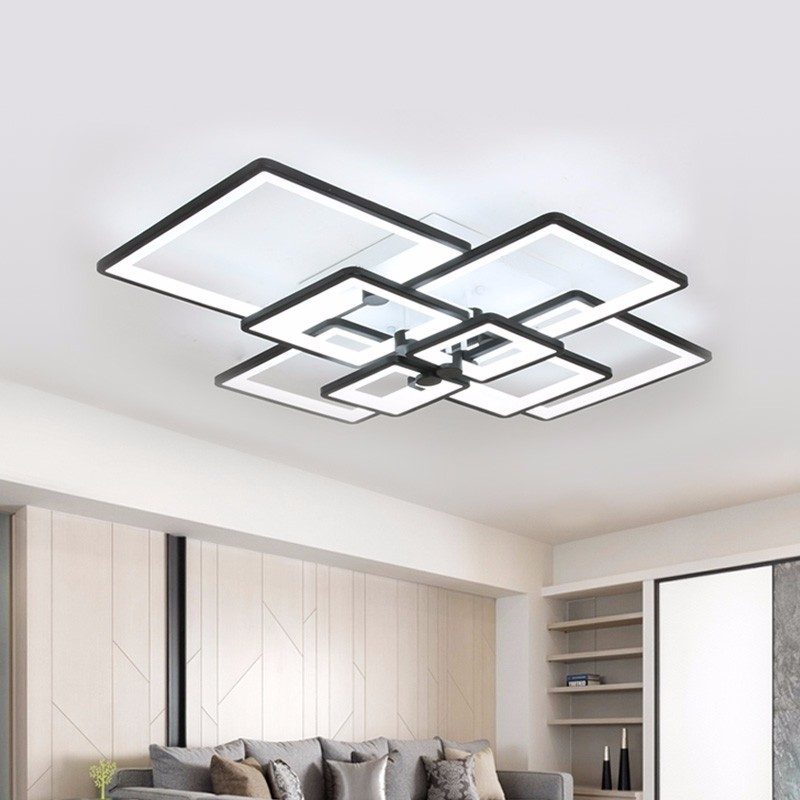 Modern Chandelier LED Light For Living Dining Room Lamp Square Black Home  Kitchen Fixtures With Remote Bedroom Lustre