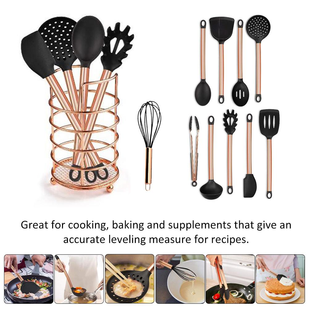 11 pièces cuivre plaqué poignée Silicone ustensiles de cuisine antiadhésif cuisson pelle cuillère cuisine outil ensemble Silicone cuisine ustensiles de cuisine