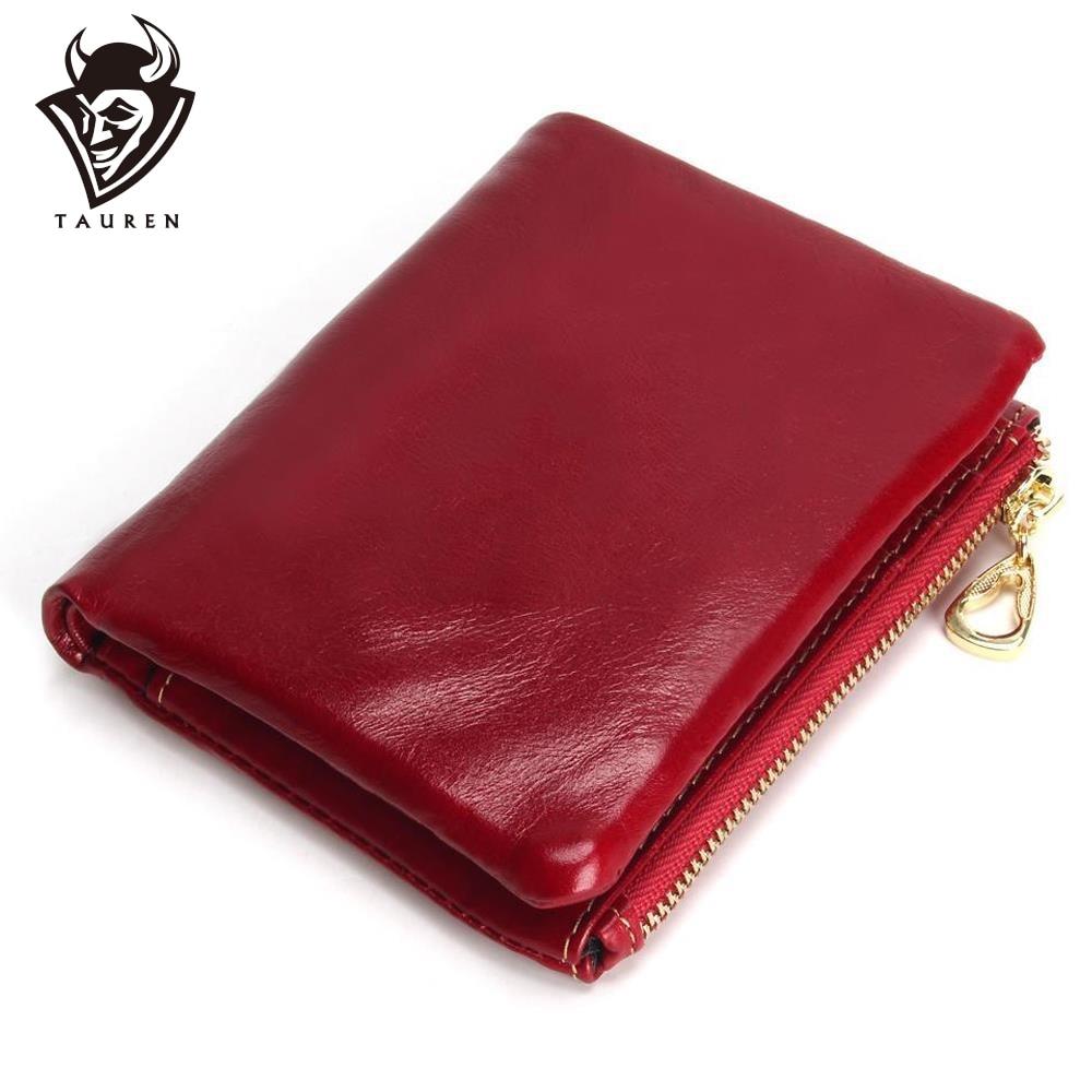 नई फैशन TAUREN उच्च गुणवत्ता 100% असली लेदर महिलाओं मिनी बटुआ तेल मोम चमड़े का सिक्का पर्स सिक्का क्रेडिट कार्ड धारक