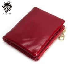 New Fashion TAUREN High Quality 100% Genuine Leather Women Mini Wallet Oil Wax Coin Purse Credit Card Holder