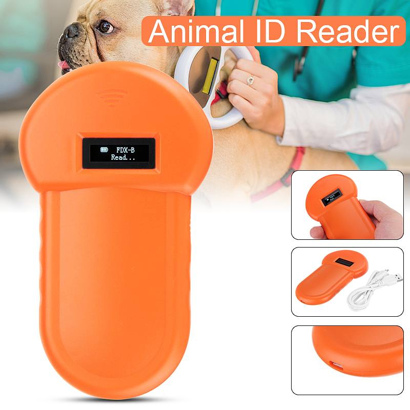 Portable LCD Display Animal Microchip Scanner Tag Barcode Scanner ISO11784/11785 134.2KHz FDX-B Pet RFID Chip Reader For Dog Cat