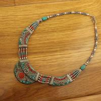 NK214 Vintage Tibetan Colorful Stone Big Pendant Necklace Nepal Indian Vintage Jewelry BOHO Necklaces Free Shipping