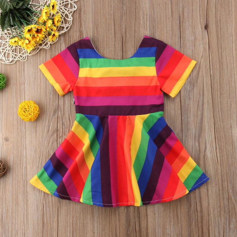 Toddler Kids Baby Girl Rainbow Short Sleeve Princess Party Dress Sundress 1-6Yrs