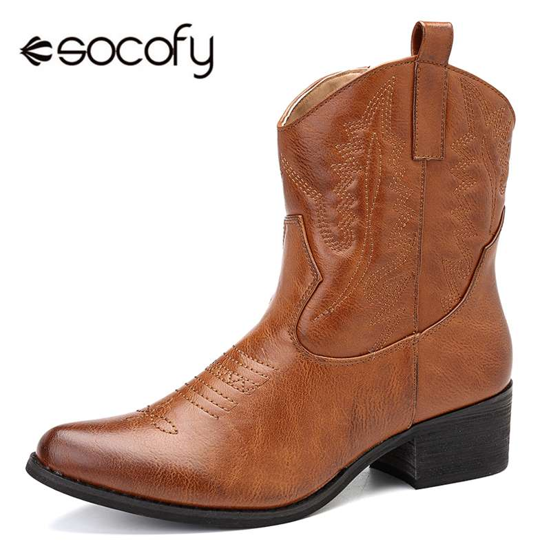 Socofy PU Leather Cowgirl Women Boots Autumn Winter Ankle Boots Women Shoes Woman Zipper Pointed Toe Casual Shoes Ladies Booties