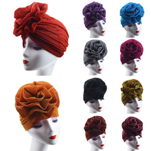 1PC New Hot 16Colors Elastic India Bright Color Soft Comfortable Wedding Party Adjustable Big Flower Muslim Turban