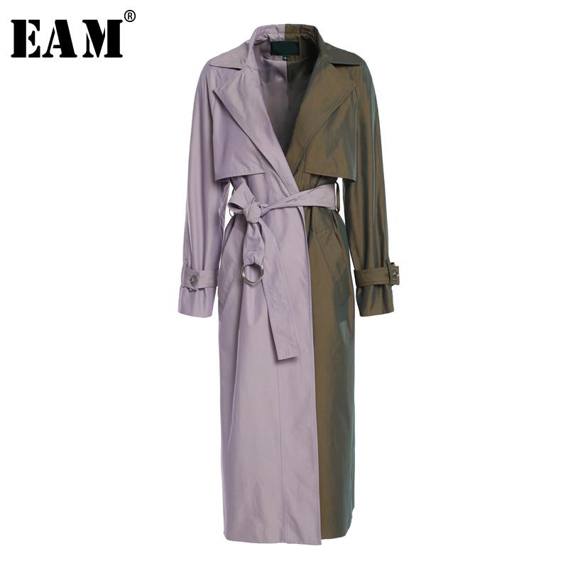 [EAM] 2019 New Spring Summer Lapel Long Sleeve Hit Color Purple Loose Belt Long Windbreaker Women   Trench   Fashion Tide JQ387