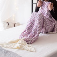 All Season Soft Crochet Mermaid Throw Bed Wrap For Adult Mermaid Tail TV Sofa Blanket super soft kintted sofa bed wrap mermaid blanket