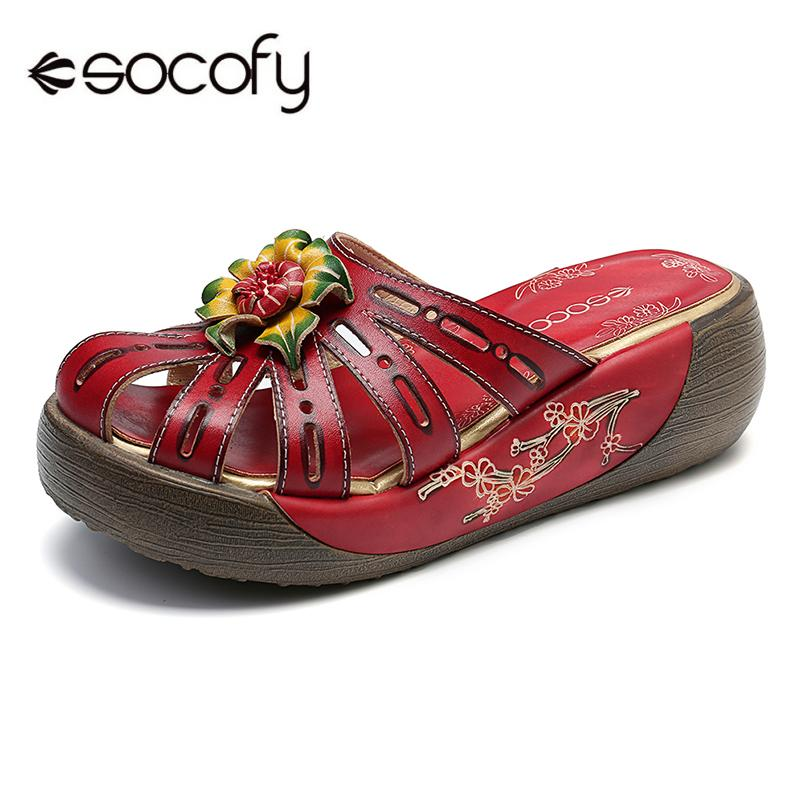 SOCOFY Retro Hollow Genuine Leather Hand Painted Floral Wood Grain Platform Daily Sandals  Summer Casual Women Flat Shoes New damen sandalen leder 38