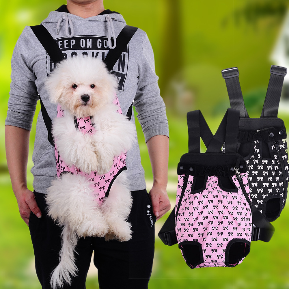 New Fashion Dog Cat Pet Dog Puppy Carry Front Carrier Outdoor Backpack Bag With Cute Bowknot Pattern Pet Support For Sale