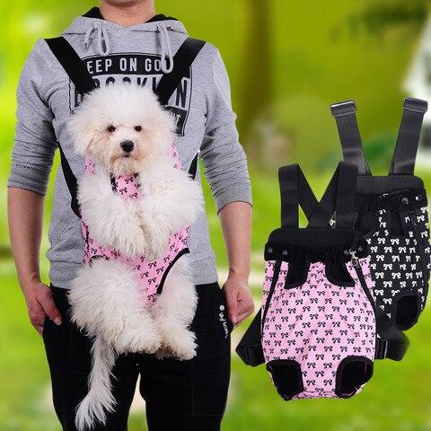 Filhote de Cachorro do Gato Gato do Cão Mochila ao ar Saco com Teste Suporte para Venda New Fashion Dog Pet do Cão Carry Frente Transportadora Livre Padrão Bonito Bowknot Pet